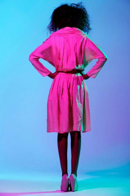 pleated waist wrap front dress, tie fastening and pleated drape collar, also available as blouse